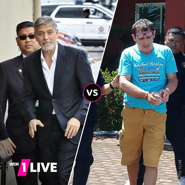 Bild vom Verdächtigen neben einem Bild von George Clooney
