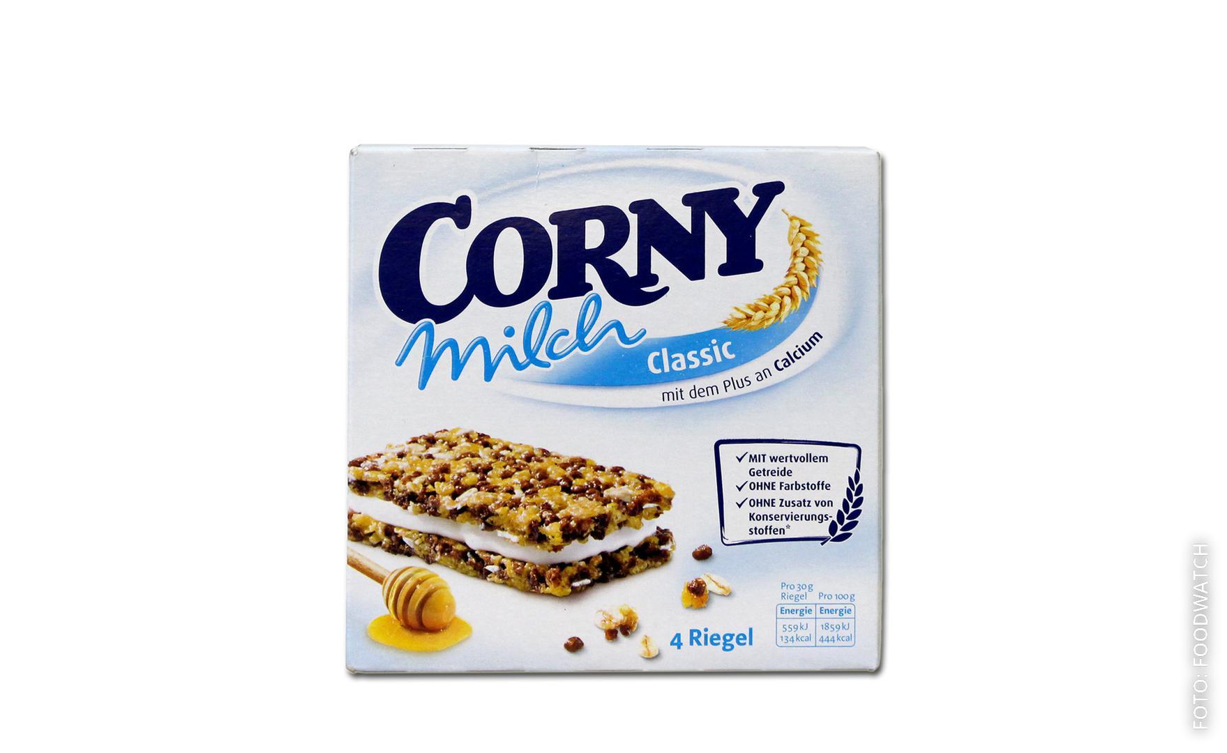 Eine Packung Corny Milchriegel