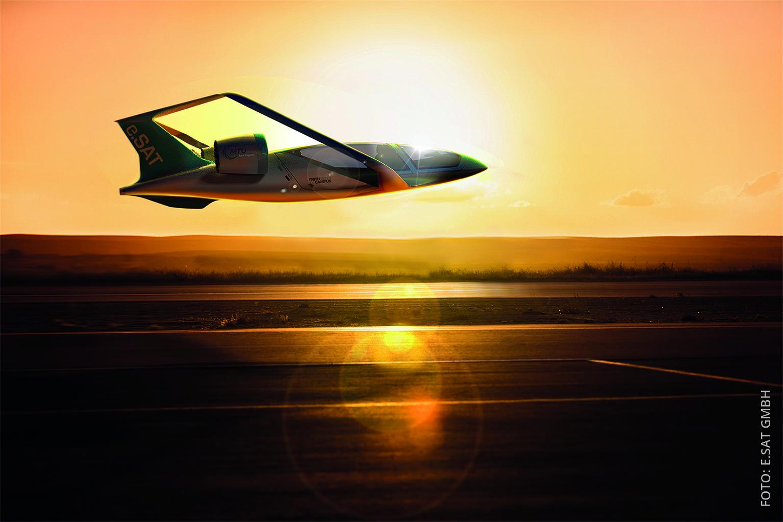 Ein Flugtaxi der Firma e.SAT im Landeanflug
