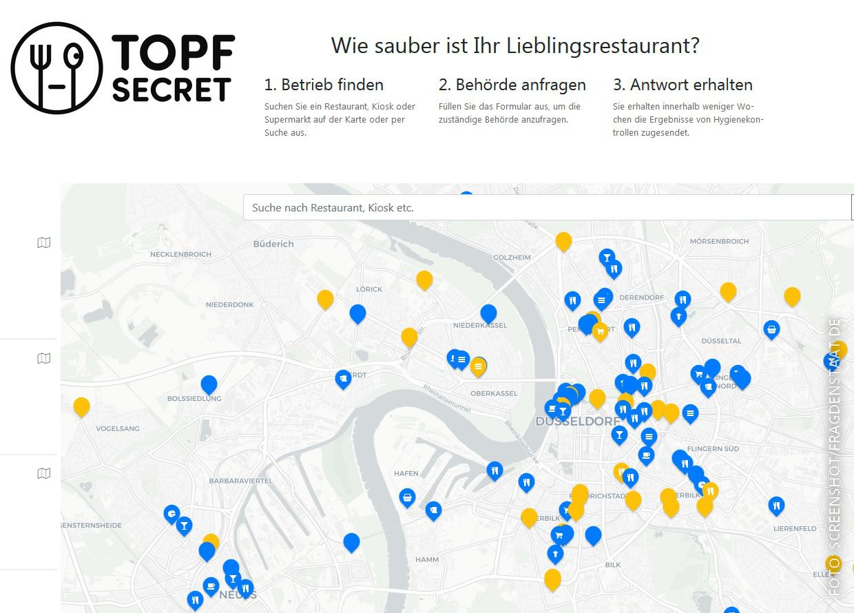 Screenshot von der interaktiven Karte bei Topf Secret