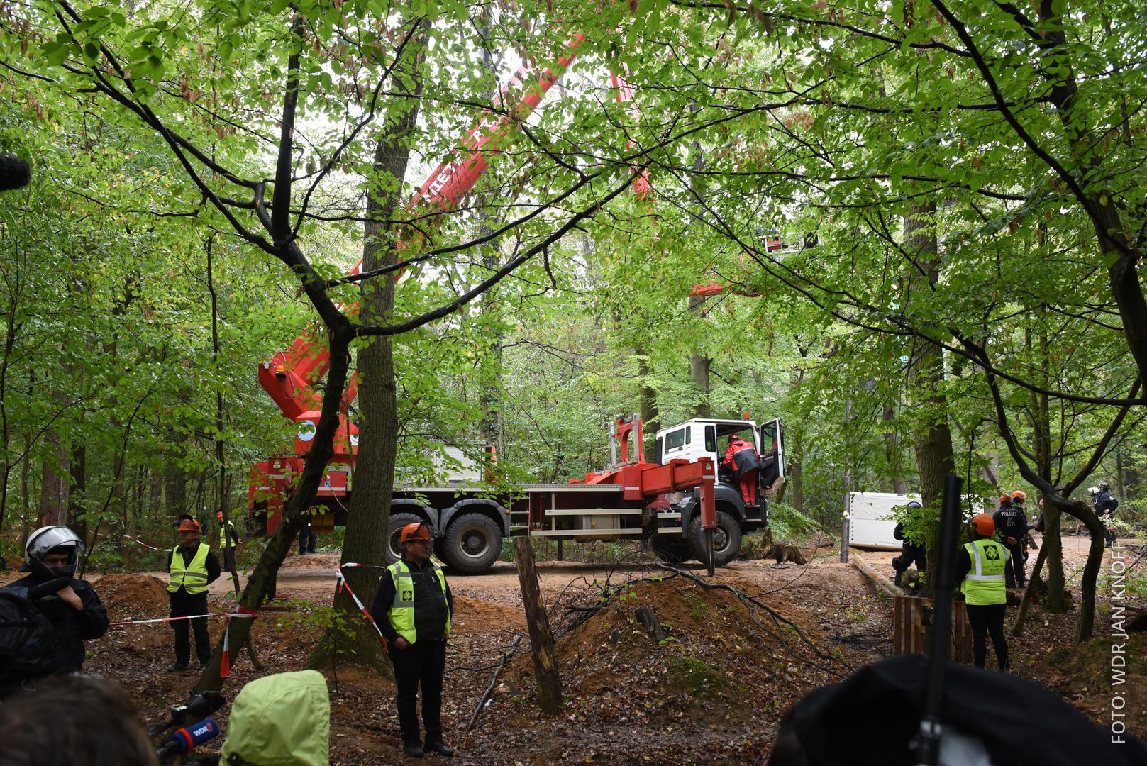 Hebebühne im Hambacher Forst