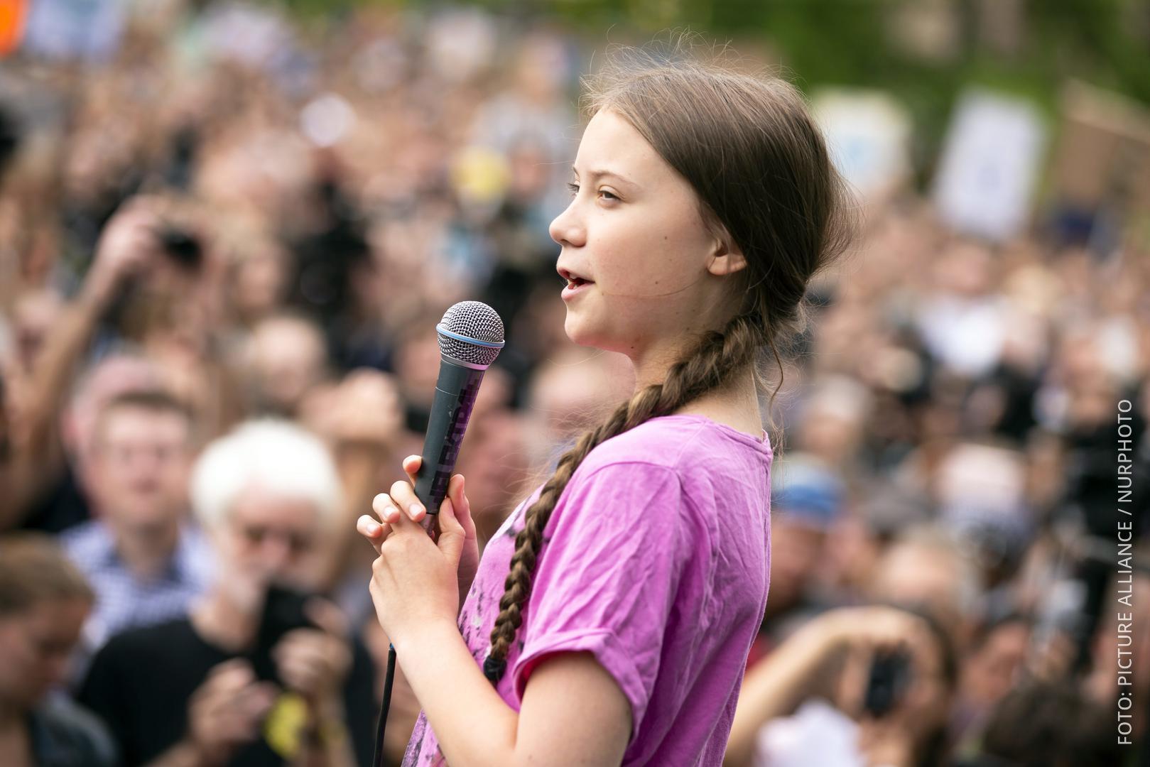 Greta bei einer Fridays for Future-Demo in Berlin im Juli.