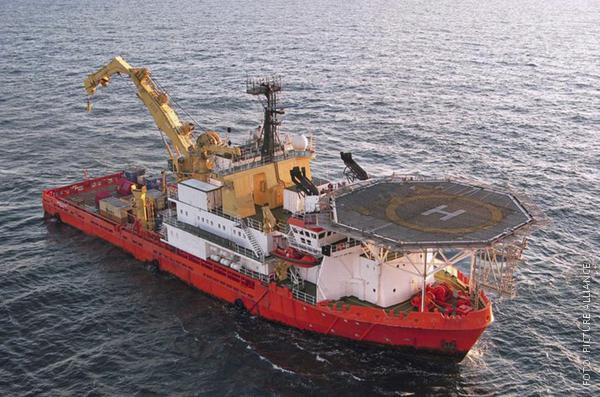 Bergungsschiff in der Nordsee