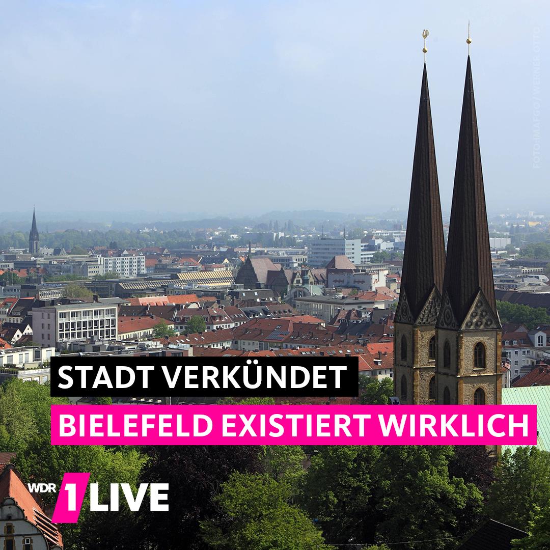 Grafik mit Text: Stadt verkündet - Bielefeld existiert wirklich.