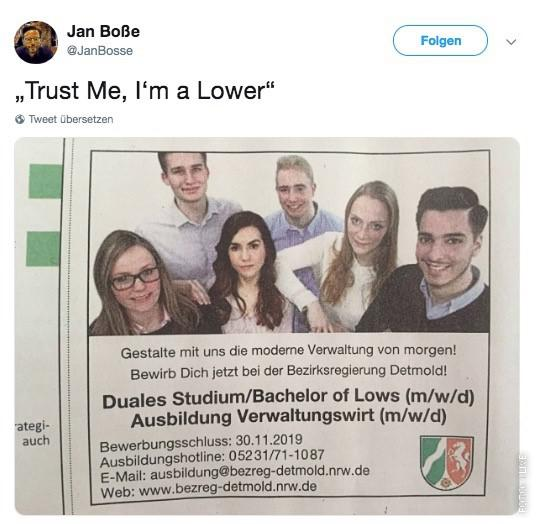 Tweet mit Stellenanzeige: Duales Studium/Bachelor of Lows.