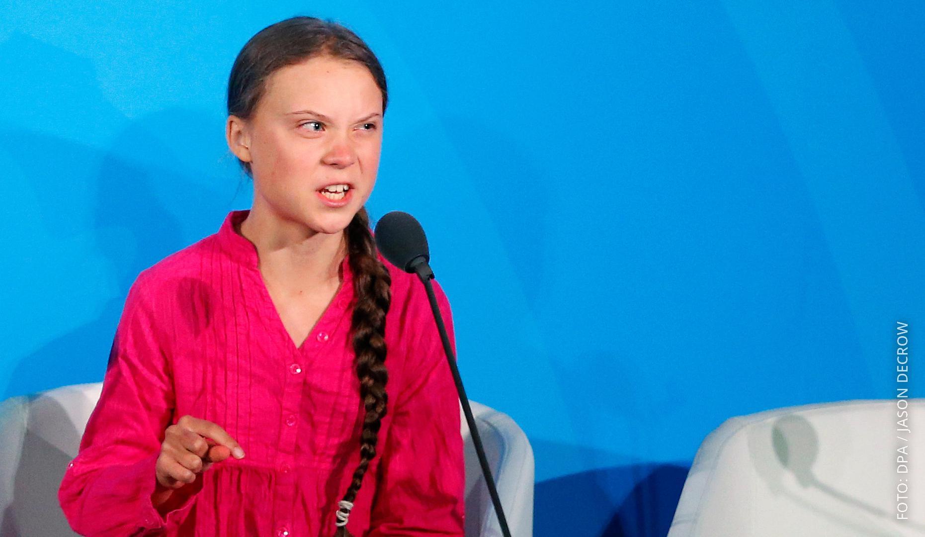 Klima-Aktivistin Thunberg bei ihrer Rede.