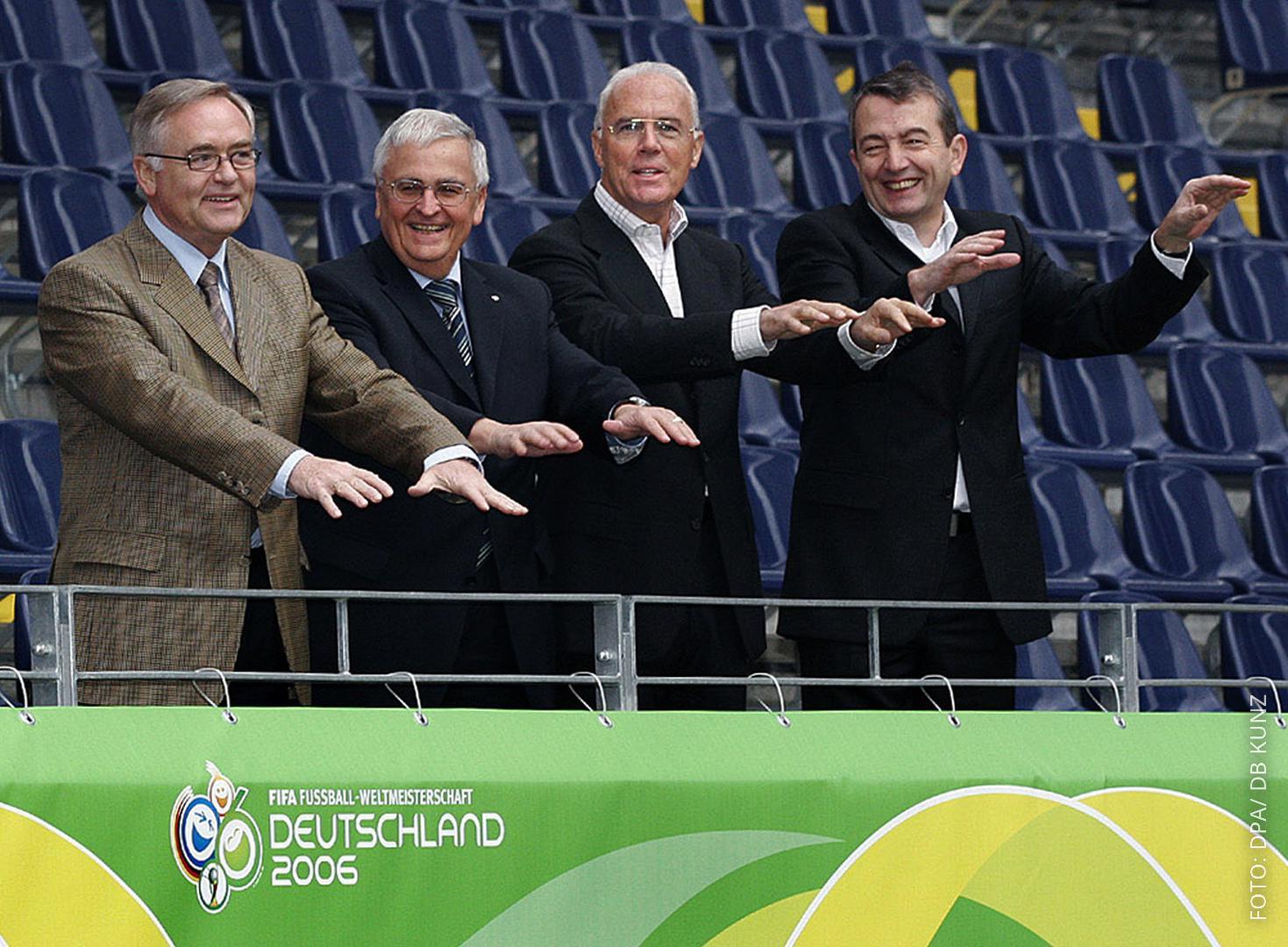 Horst Schmidt, Theo Zwanziger, Franz Beckenbauer, Wolfgang Niersbach