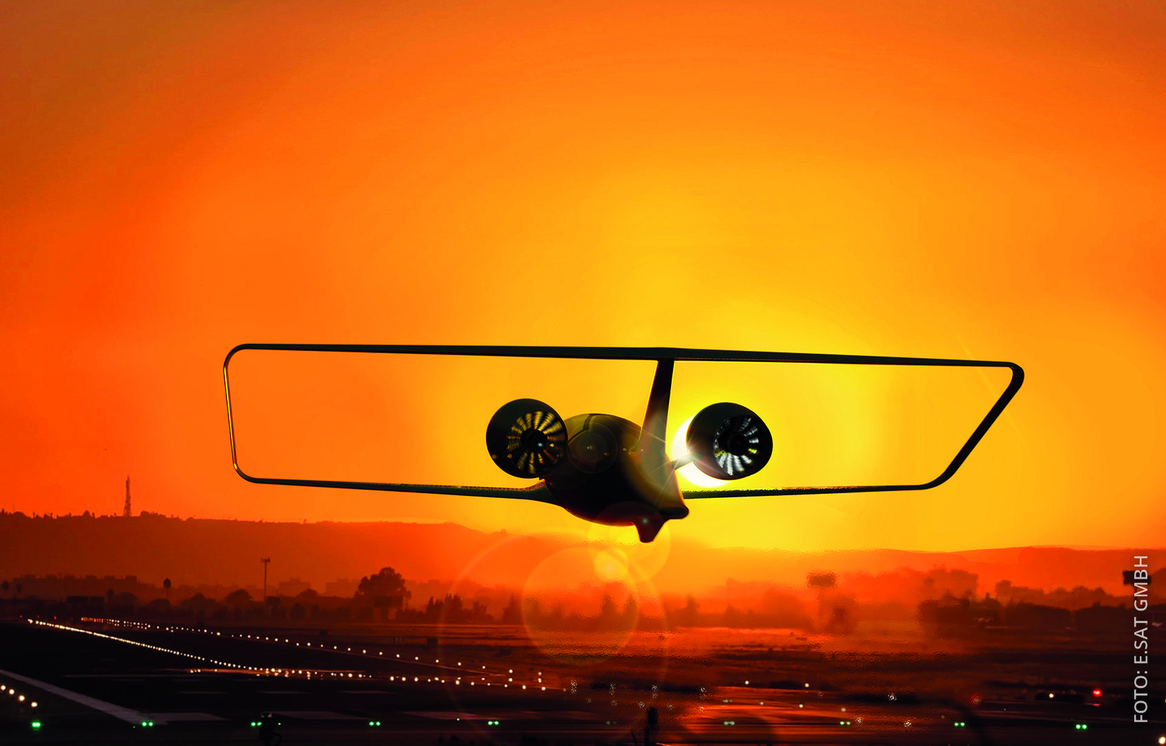 Ein Flugtaxi der Firma e.SAT startet