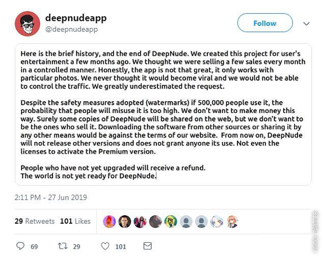 Die Erklärung von Deep Nude, weshalb sie aufhören.