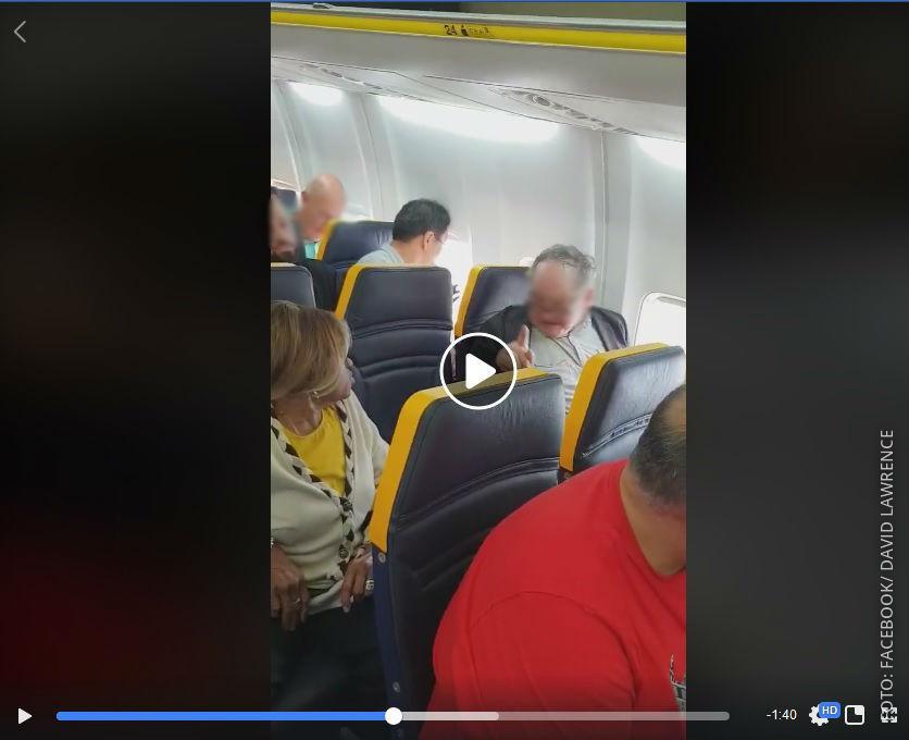 Ausschnitt aus einem Facebook Video zu Ryanair-Vorfall