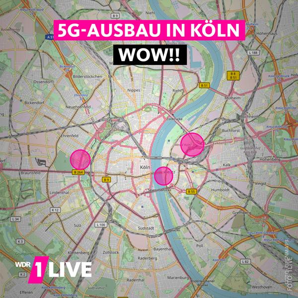 Köln-Karte mit kleinen, eingezeichneten 5G-Bereichen.