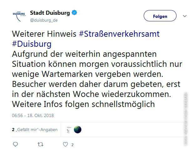 Twitter Screenshot von der Stadt Duisburg
