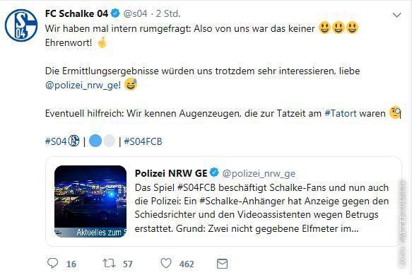 Screenshot eines Tweets von Schalke 04