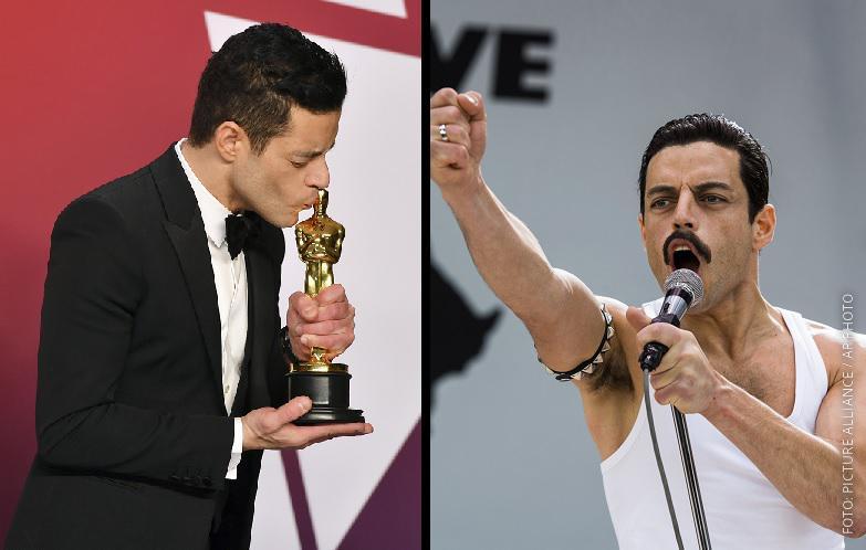 """Rami Malek mit Oscar und im Film """"Bohemian Rhapsody"""" als Freddie Mercury"""