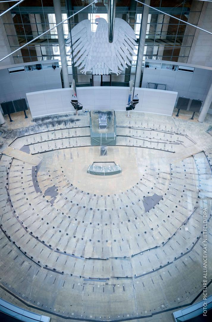 Leerer Bundestag ohne Sitze und ohne Teppich