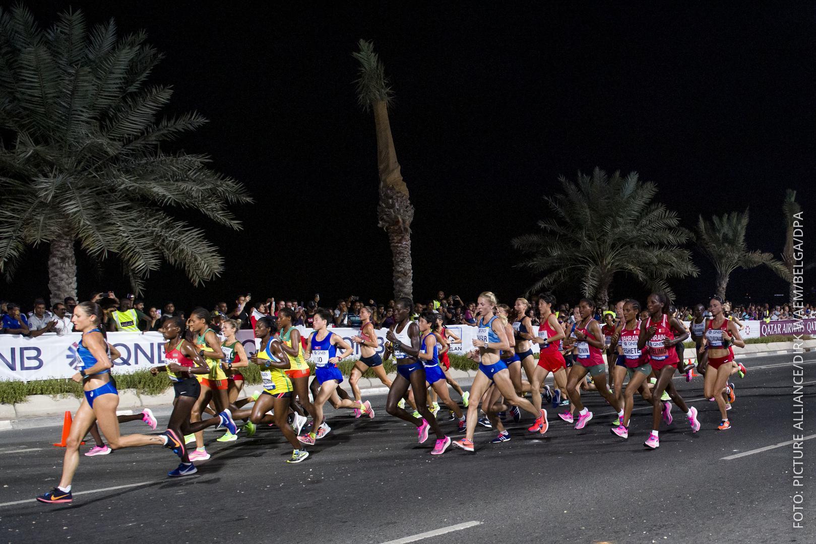 Marathon-Läuferinnen bei dem Rennen in Katar