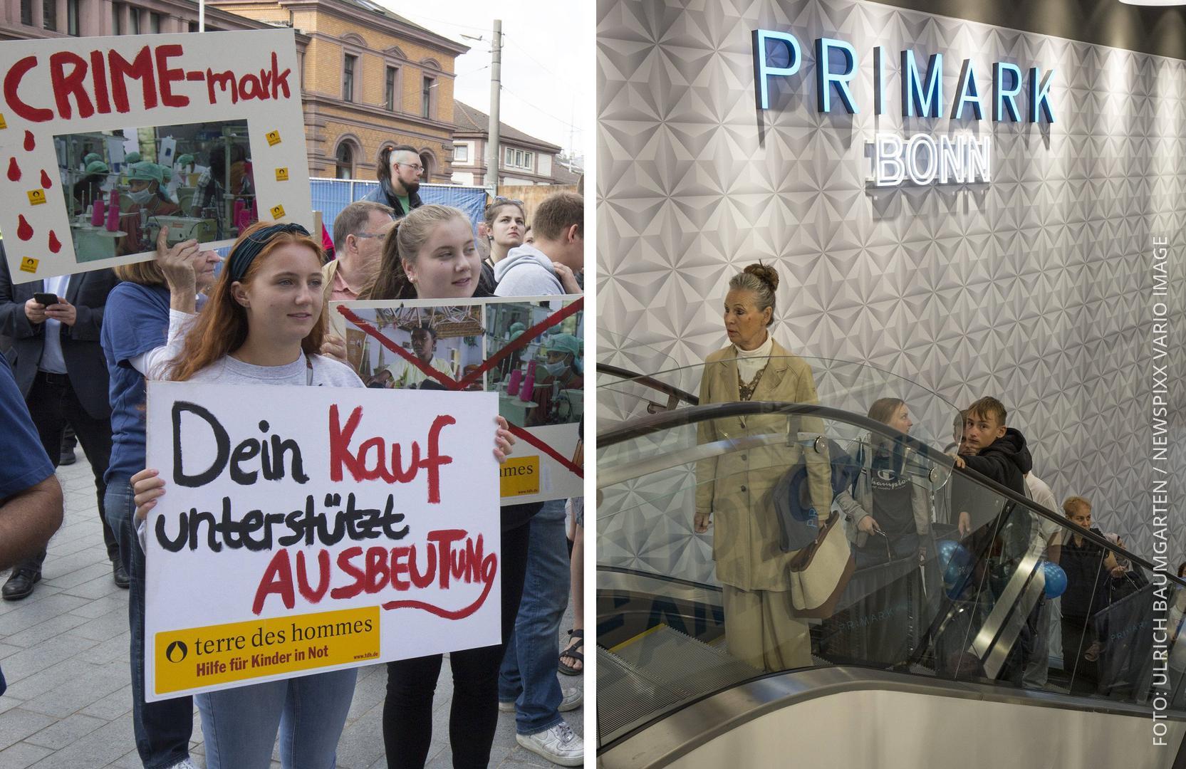 Collage: Links Demonstranten, rechts: Primark-Kunden auf Rolltreppe.