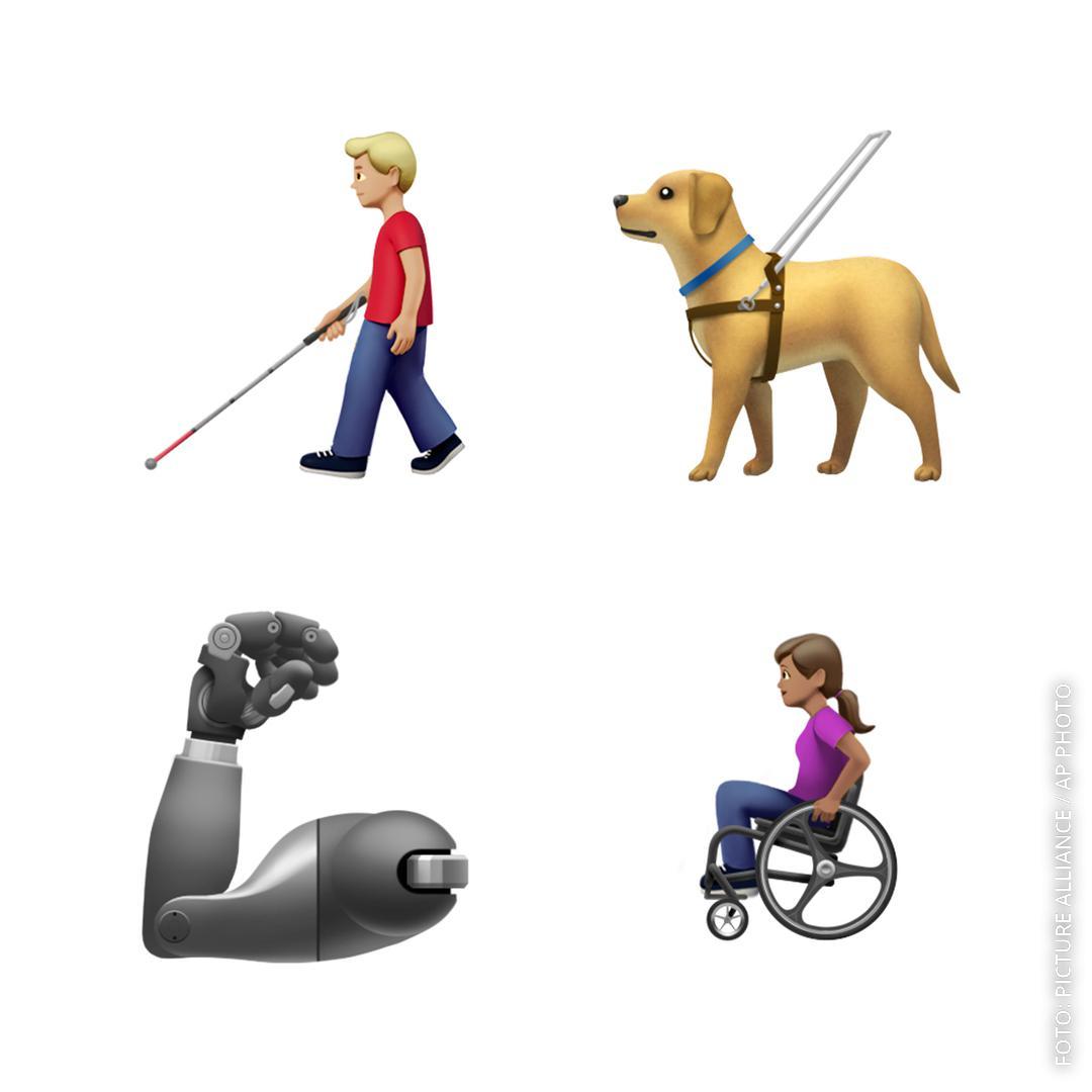 Emojis für Rollstuhlfahrer, Blinde und Prothesenträger.