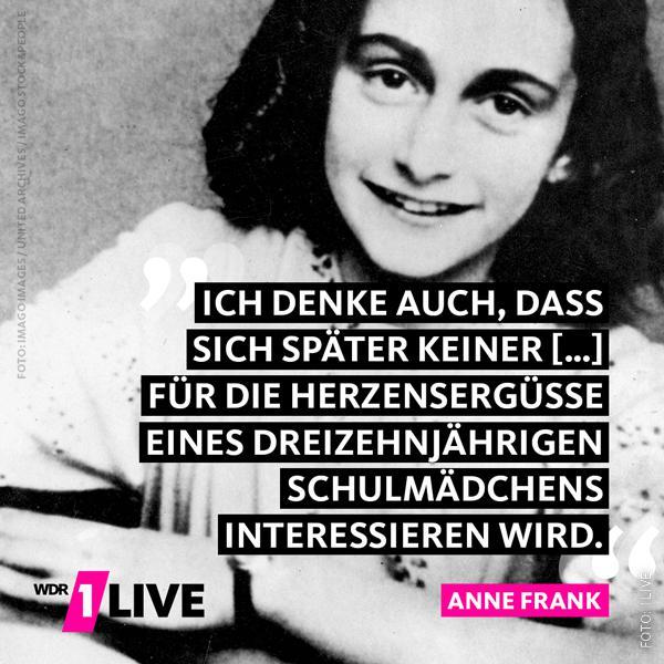Bild von Anne Frank mit Zitat