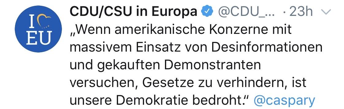Tweet der CDU/CSU in Europa