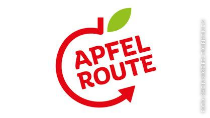 Logo des Apfelradwegs,  halber Umriss eines Apfels, in rot, und oben hat der Apfel ein grünes Blatt.