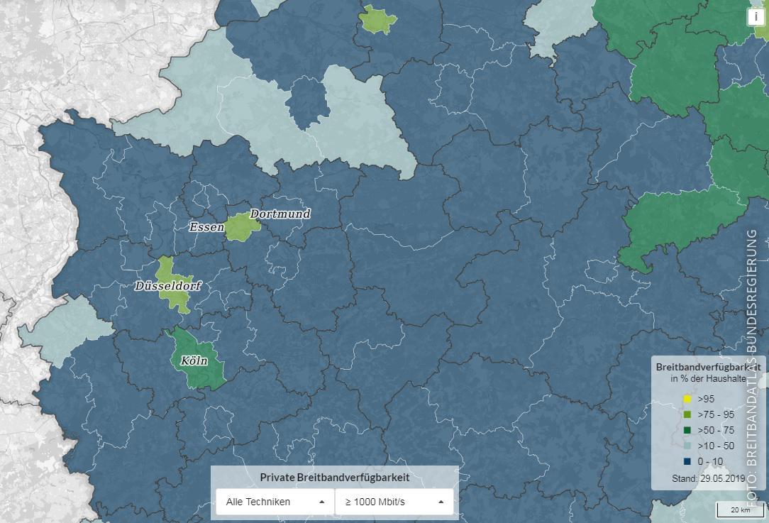 Karte zum Breitbandausbau in NRW