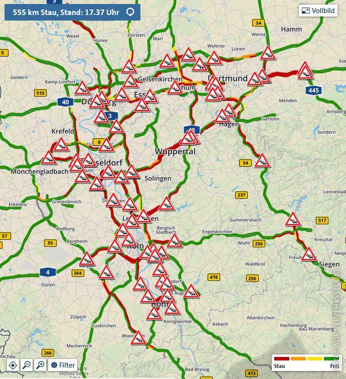 Eine NRW-Karte zeigt viele Staus