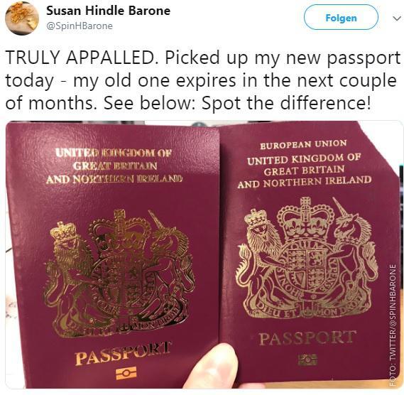 Der alte und der neue britische Pass nebeneinander.