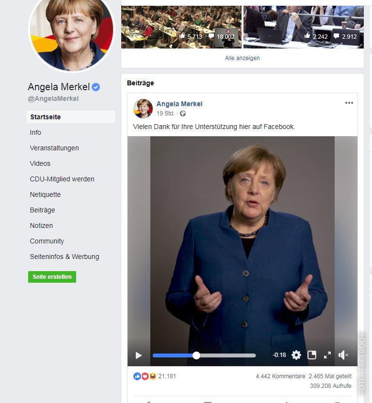 Merkel auf Facebook