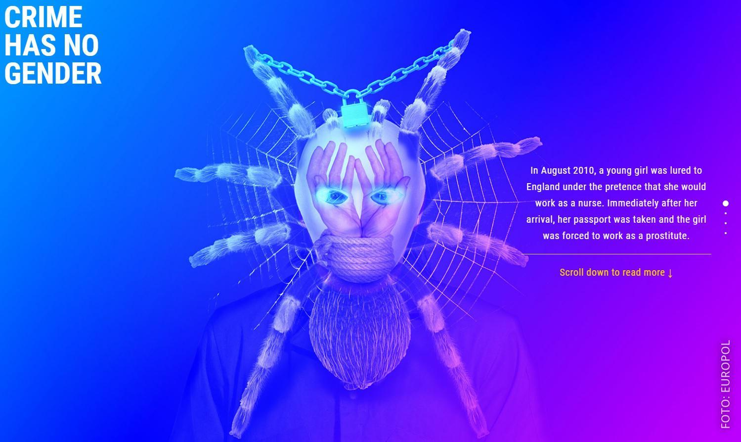 Europol Webseite die eine gesuchte Frau mit Maskierung zeigt