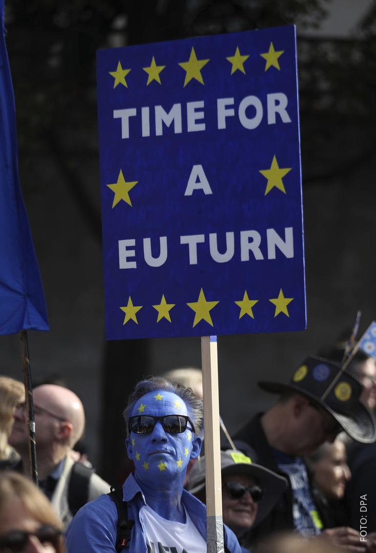 Demonstrant mit Anti-Brexit-Schild