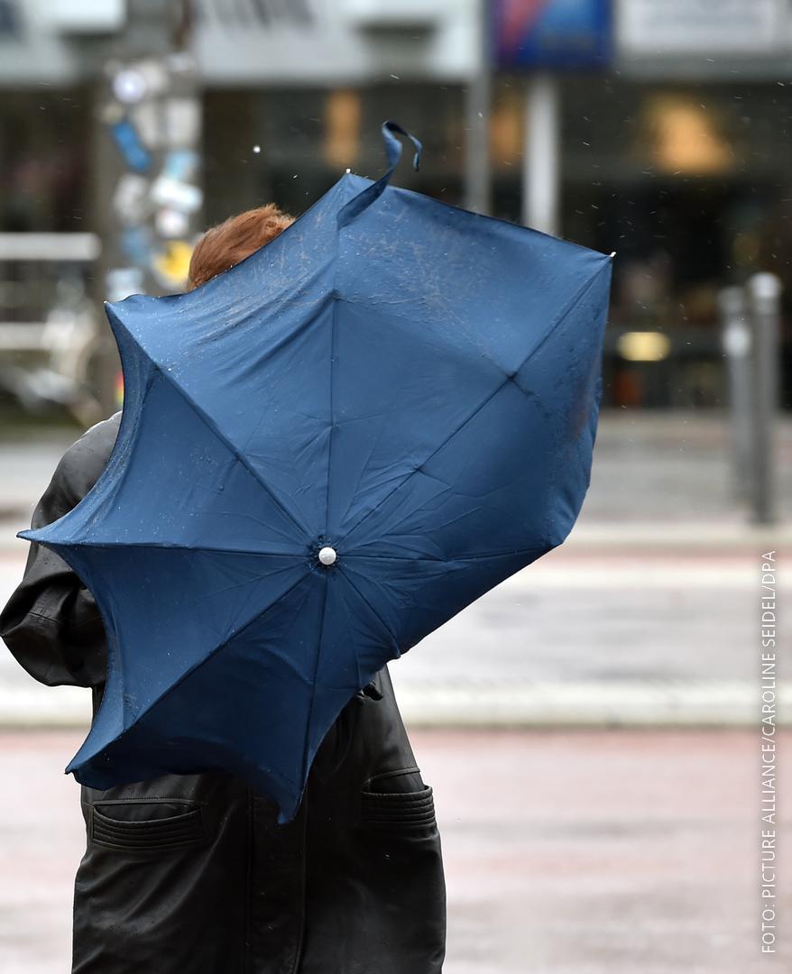 Frau mit Schirm im Sturm